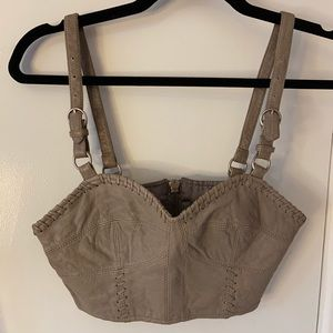 All Saints leather cropped bustier/bra size 2